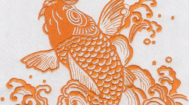 Embroidery Digitizing design Orange Koi Fish preview