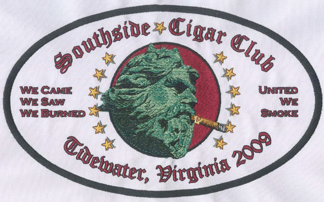 Embroidery Digitizing design for Southside Cigar Club preivew