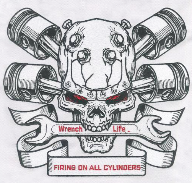 Embroidery Digitizing design for Wrench Life full size